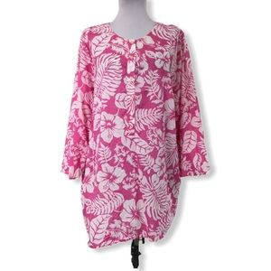 Ralph Lauren 3X Tunic Blouse Floral Cotton Pink